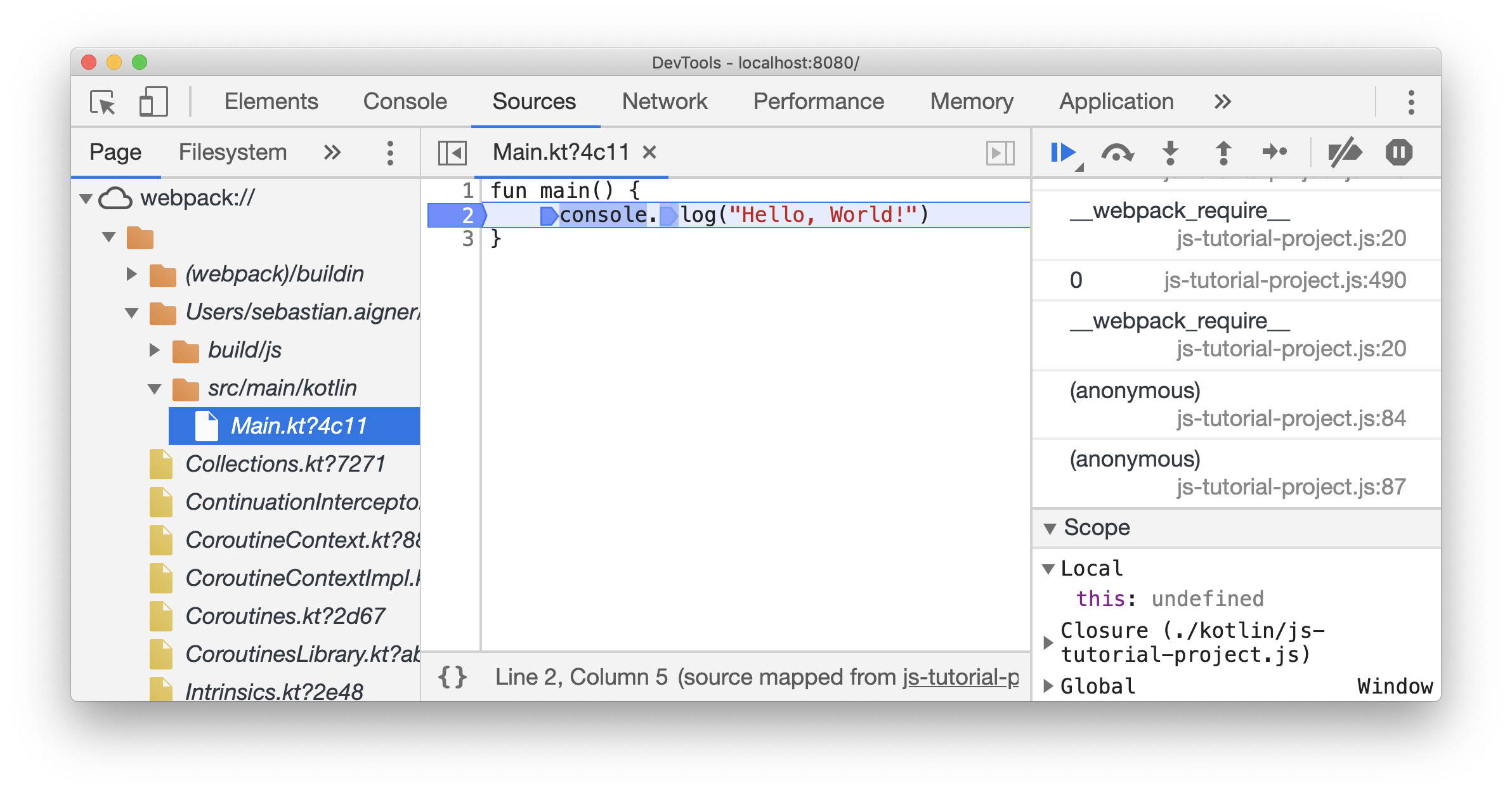 Debugging in Chrome DevTools